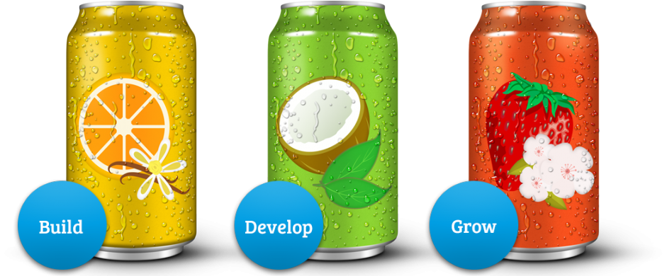 image tin cans with different flavors, orange vanilla, coconut mint, strawberry cherry blossom to describe Build, Develop and Grow process. Generalbev.eu